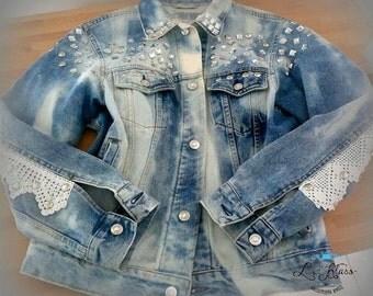 Jean jacket women . Denim jacket with decor, Denim jacket  . Women jacket .Size M , L