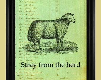 Sheep Art, Vintage Sheep Drawing, Antique Farm Animal Illustration, Stray From The Herd Motivational Quote Print - 8 x 10
