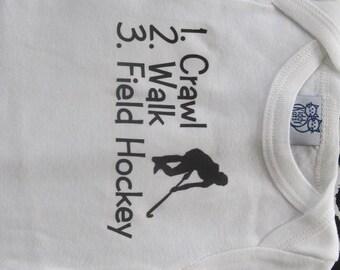 Field hockey baby one piece, field hockey baby bodysuit, Field hockey baby girl, Field hockey baby creeper, Field hockey baby tees