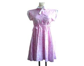 Vintage summer dress / Pink dress / tie and dye dress / S