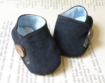 Baby Boy Linen Slippers/  Baby booties/  Baby boy shoes