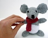 Knit Toy, Grey Mouse Stuffed Animal, child or baby gift