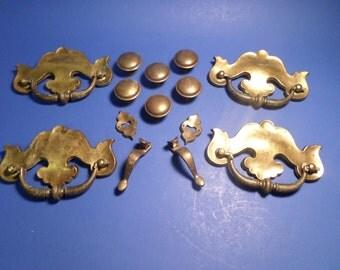 Vintage 14 Piece Lot of Brass Drawer Pulls Hardware