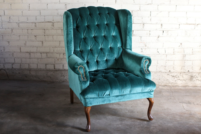 Teal Green Velvet Tufted Wingback Chair