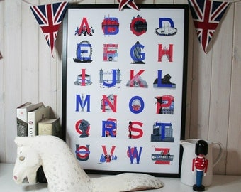 London Alphabet Poster (50 x 70 cm) unframed ABC, red, white and blue