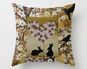 brown tan beige coffee art rabbit rabbits bunny bunnies design gift gifts pillow case cushions throw pillows cushion cover covers romantic