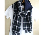 "Cotton scarf, Tartan check plaid double gauze stole - black watch tartan check / plain navy - 14"" wide"