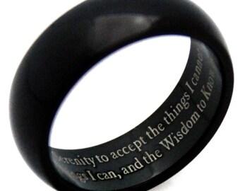 Black Ion Plated Serenity Prayer Ring