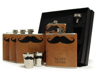 Mustache Flasks on Dark Gold for Groomsmen Gifts