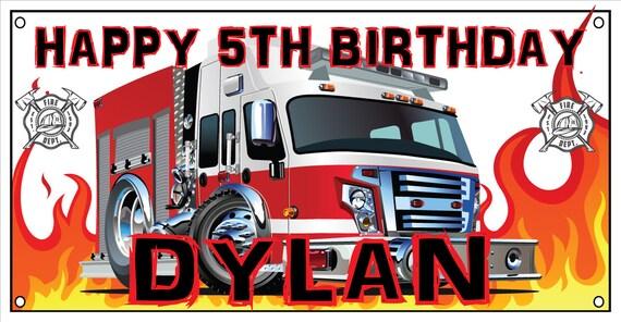 Personalized birthday banner - 4ft x 2ft - Firefighter, Fire Department, Firehouse, Engine, Truck, Firefighting, Firetruck