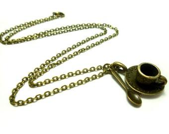 Alice in Wonderland Bronze Teacup & Spoon Necklace, Tea cup, Cute, Tea Party