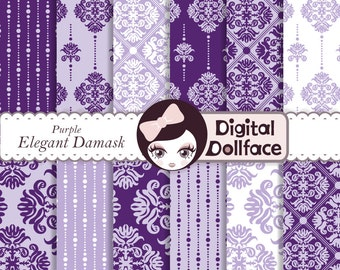 Lavender & Purple Digital Paper, Damask Background Pattern, Elegant, Scrapbooking