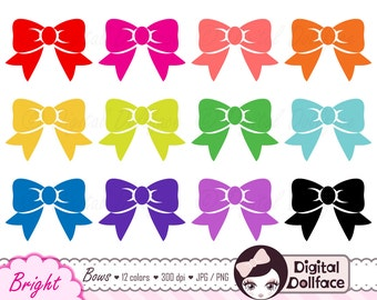 Colorful Bow Digital Clip Art, Cute Clipart, Ribbon Bow, Graphic Images