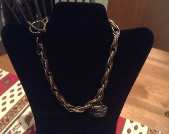 Bronze metal chain with butterly focal