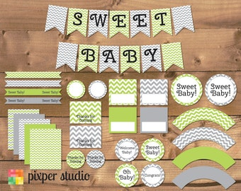 INSTANT DOWNLOAD - Chevron Baby Shower - Green and Gray - Green and Grey