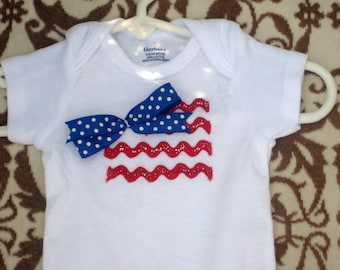 July 4th Baby Girl Bodysuit/Fourth of July baby girls bodysuit/Red White & Blue/Patriotic Bodysuit/July 4th outfit for girls