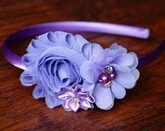 Baby Headband, Lavender Headband, Easter Headband, Purple Headband, baby hair bow, shabby chic, hard headband