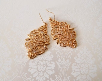 Gold Dangle Earrings  Gold Filigree Drop Earrings Wedding Jewelry  Eco-Friendly 14kt Gold Filled Ear Wires