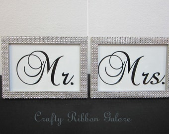 Mr. & Mrs.(2) 5 x 7 Picture Frames in Silver Rhinestone - Wedding Sweetheart table