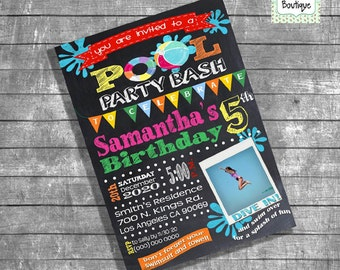 Birthday Pool party invitation pool party bash photo invite chalkboard summer pool party digital printable invitation 13162