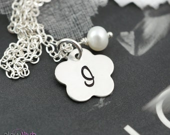 SET of 2 Flower girl gifts, Junior bridesmaids charm necklaces, Flower charms, girl necklace with pearl charm