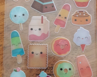 Cute Kawaii Food Stickers- sheet of 23 stickers
