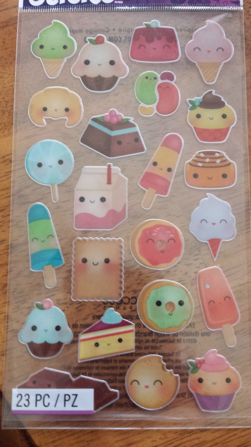 Cute Kawaii Food Stickers sheet of 23 stickers