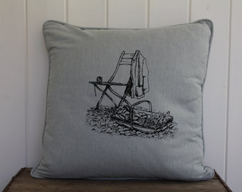 Linen Cushion Hand Printed with Garden Chair