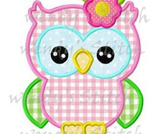 Flower girl owl applique machine embroidery design digital pattern