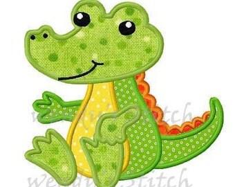 Alligator applique machine embroidery design digital pattern instant download