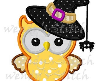 Halloween witch owl with hat applique machine embroidery design instant download