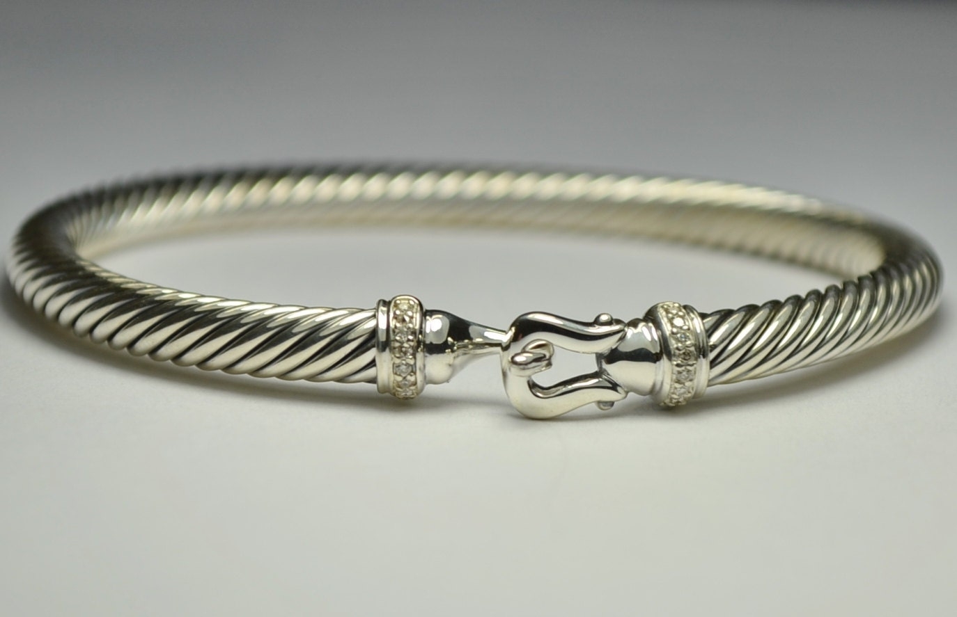 David yurman sterling silver 5mm cable buckle bracelet with for David yurman like bracelets