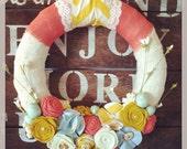 Spring wreath, Easter wreath, burlap wreath, wreath, Easter egg wreath, chevron wreath