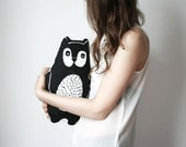 cute screen printed cotton bear pillow children kid stuffed animal toy black and white graphic design cushion