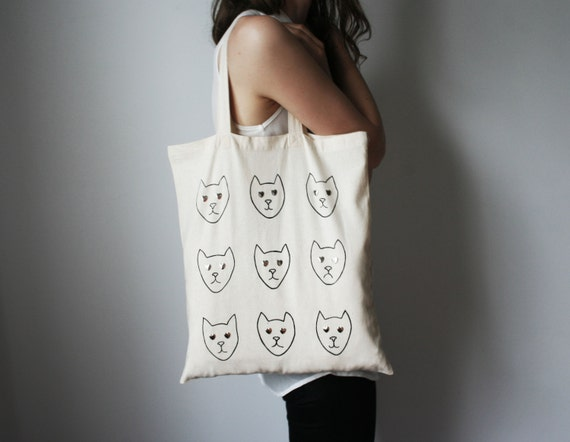 LOVE CATS/ hand screen printed cotton shopping bag hand screen printed tote bag with cute cat print cat lover gift