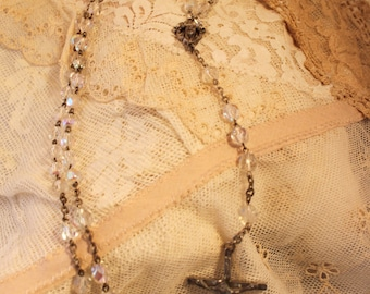 Beautiful ITALY Vintage Rosary,AB Crystals,and MINT!