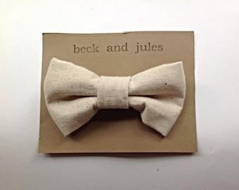 Boys linen clip bow tie
