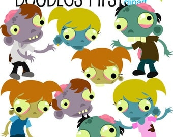Fantastic Zombies Digital Clip Art for Scrapbooking Card Making Cupcake Toppers Paper Crafts