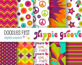 Hippie Groove Digital Paper Pack Includes 10 for Scrapbooking Paper Crafts