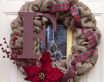 Christmas decoration Burlap Bubble wreath with monogram, poinsettia, and berries