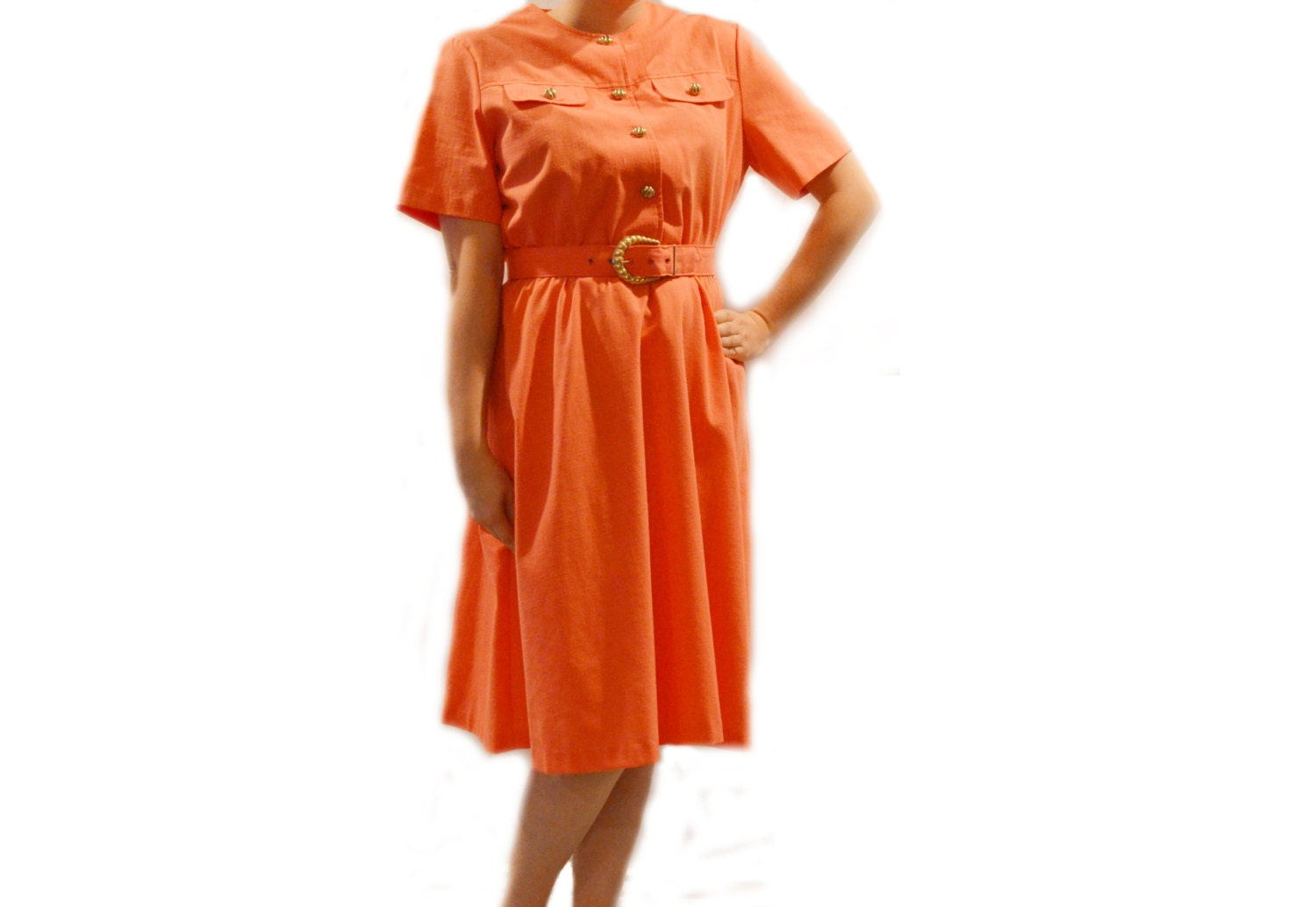 vintage 80s orange dress with belt coral gold buttons and