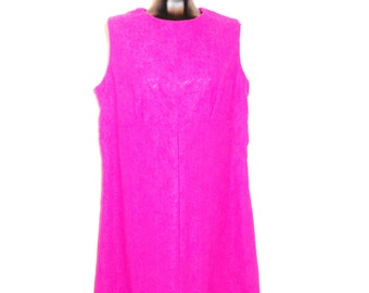 Hot Pink Vintage Dress with Matching Jacket....size 16-18