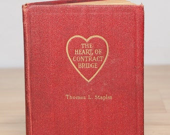 The Heart of Contract Bridge, Thomas L. Staples, Bridge rule book, card game book, gifts for him, learn to play tiny book ,rules of Bridge
