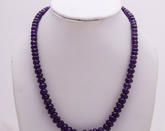 Lovely AAA quality 7-12 mm African Amethyst rondelles beads full strands necklace