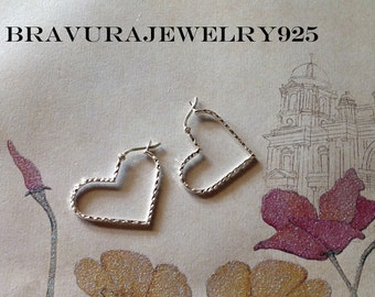 Sterling Silver Diamond Cut Heart Hoop Earrings/Large Hoops/Hinge Hoop Earrings/Hinged Hoops/Diamond Cut Earrings/Heart Hoops