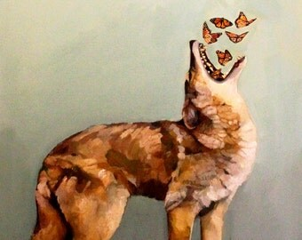 """Fine Art Print of """"Coyote and Butterflies"""""""