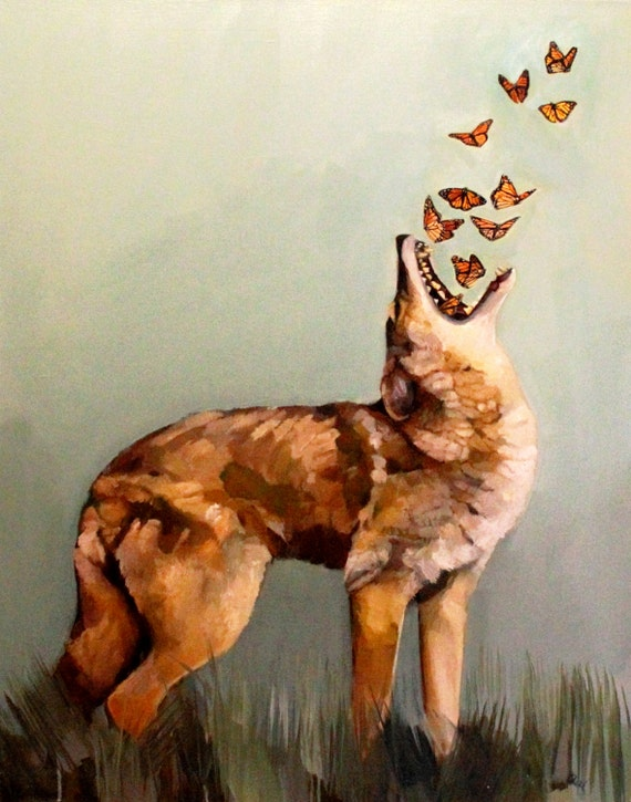 Fine Art Print Of Coyote And Butterflies