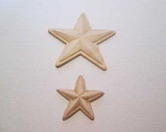 Five point star wood appliques  Set of 2
