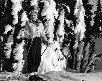Woman Skiing, Oregon, 1940s (Black and White Historical Photograph, Giclée Print)