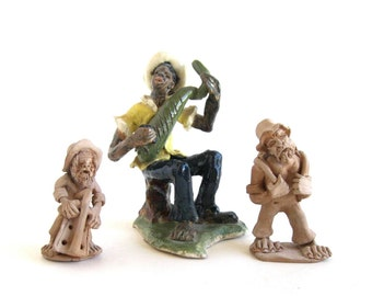 Folk Art Figurines Two Miners and Music Maker